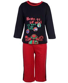 Babyhug T-Shirt And Pants Set Cool Riders Print - Black And Red
