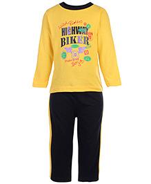 Babyhug T-Shirt And Pants Set Highway Rider Print - Yellow And Black