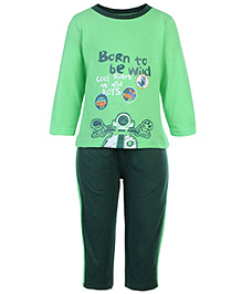 Babyhug T-Shirt And Pants Set Cool Riders Print - Green