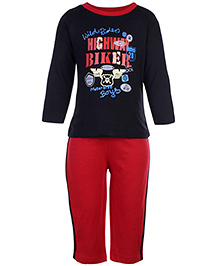 Babyhug T-Shirt And Pants Set Highway Rider Print - Black And Red
