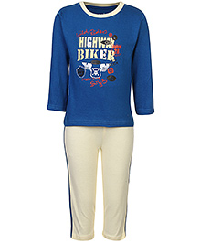 Babyhug T-Shirt And Pants Set Highway Rider Print - Blue And Off White