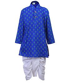 Babyhug Full Sleeves Kurta And Dhoti Set - Blue And White - 6 To 12 Months