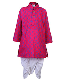 Babyhug Full Sleeves Kurta And Dhoti Set - Pink And White