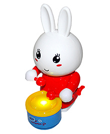 Adraxx Drumming Funny Bunny With Winding Key - Multicolour