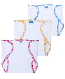 Littles Velcro Nappies New Born Multicolor - Set Of 3