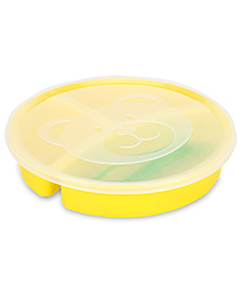 Little's 3 Section Divided Plate With Lid Fork And Spoon - Yellow