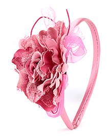 Hopscotch Hair Band Carnation Flower Applique - Pink