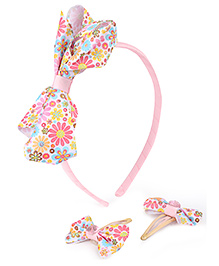 Hopscotch Hair Band With Snap Clips Bow Applique - Pink