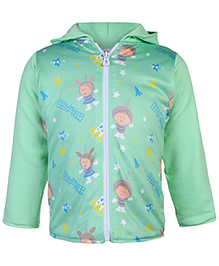 Tappintoes Full Sleeves Jacket Space Print - Green