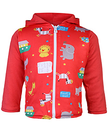 Tappintoes Full Sleeves Hooded Jacket - Baby Animals Print