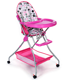 Fab N Funky High Chair With Storage Basket - Pink