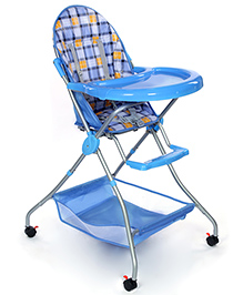 Fab N Funky High Chair With Storage Basket - Blue