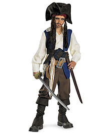 Disney Captain Jack Sparrow Deluxe Costume - Multi Colour