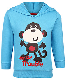 Pink Rabbit Full Sleeves Hooded T-Shirt - Monkey Print - 6 To 12 Months