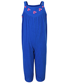 Beebay Full Length Dungaree Blue - Floral Embroidery
