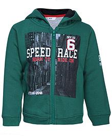 Beebay Full Sleeves Hooded Sweat Jacket Green - Speed Race Print - 6 To 12 Months