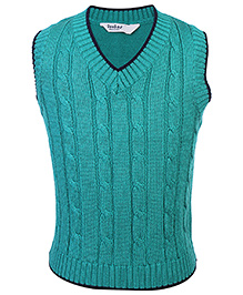 Beebay Sleeveless Cable Knit Sweater - Green
