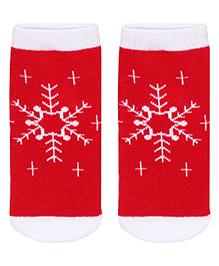 Mustang Socks Snowflake Print - Red