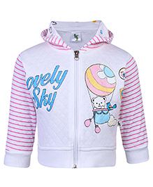 Cucumber Hooded Sweat Jacket Full Sleeves - White And Pink