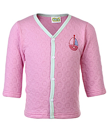Babyhug Full Sleeves Vest Boat Patch - Pink
