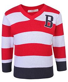 Fox Full Sleeves V Neck Sweater - Stripes
