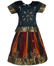 Babyhug Half Sleeves Pavadai Set Embroidery - Multi Colour