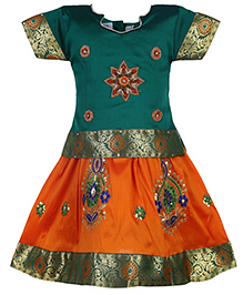 Babyhug Half Sleeves Pavadai Set Embroidery - Green