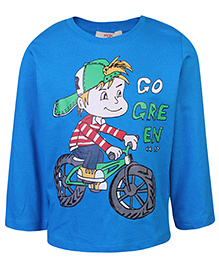 Fox Full Sleeves T-Shirt - Cycle Boy Go Green Print - 12 To 18 Months