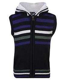 Peridot Sleeveless Hooded Sweater - Stripes Pattern