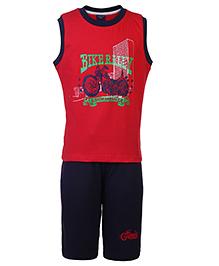 Taeko Sleeveless T-Shirt And Three Fourth Shorts - Bike Rally Print