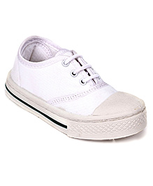 Liberty Canvas Shoes Tie Up Style - White