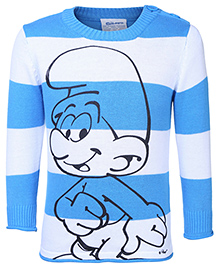 Fox Full Sleeves Striped Sweater - Smurfs Print