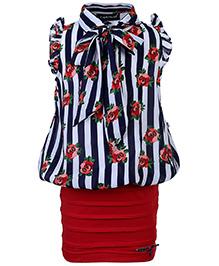 Peppermint Dip Peplum Dress - Stripes And Floral Print