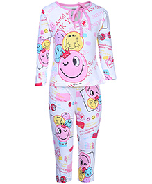Doreme Full Sleeves Top And Leggings Night Suit - Multi Print
