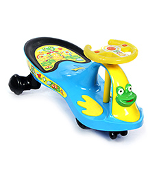 Fab N Funky Swing Car Twister Frog Design - Blue And Yellow - All Over 80 X 32 X 38 Cm