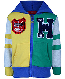 Noddy Hooded Sweat Jacket Full Sleeves - Green And Yellow