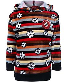 Noddy Hooded Sweatshirt Full Sleeves  Red And Black - Football Print