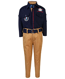 Noddy Full Sleeves Shirt And Trouser - Authentic Brand Embroidery