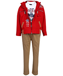 Noddy Half Sleeves T-Shirt And Trouser With Jacket - Red