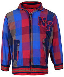 Noddy Full Sleeves Jacket With T-Shirt Checks And NY Patch - Red And Multicolour