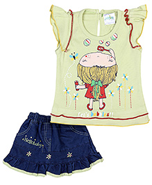 Babyhug Cap Sleeves Top And Skirt Lets Bubbles - Green