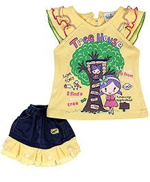 Babyhug Sleeveless Top And Skirt - Yellow