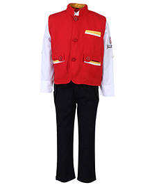 Noddy Full Sleeves Shirt And Trouser With Jacket - Red And Black