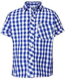 Babyhug Half Sleeves Shirt - Blue Checks