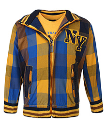 Noddy Full Sleeves Jacket With T-Shirt Checks And NY Patch - Yellow And Multicolour