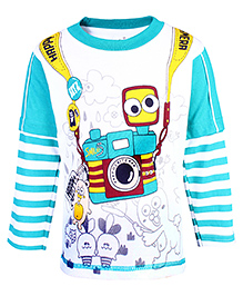 Babyhug Doctor Sleeves T-Shirt - Happy Camera Print