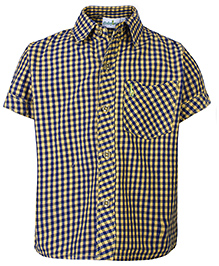 Babyhug Half Sleeves Shirt Yellow - Checks Print