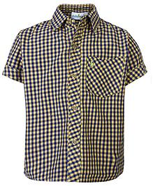 Babyhug Half Sleeves Shirt Yellow - Checks Print