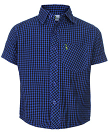Babyhug Half Sleeves Shirt Blue - Checks Print