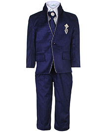 Babyhug Full Sleeves Four Piece Party Suit - Royal Blue